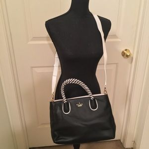 NWOT KATE SPADE NEW YORK LEATHER BLK/WHITE SATCHEL
